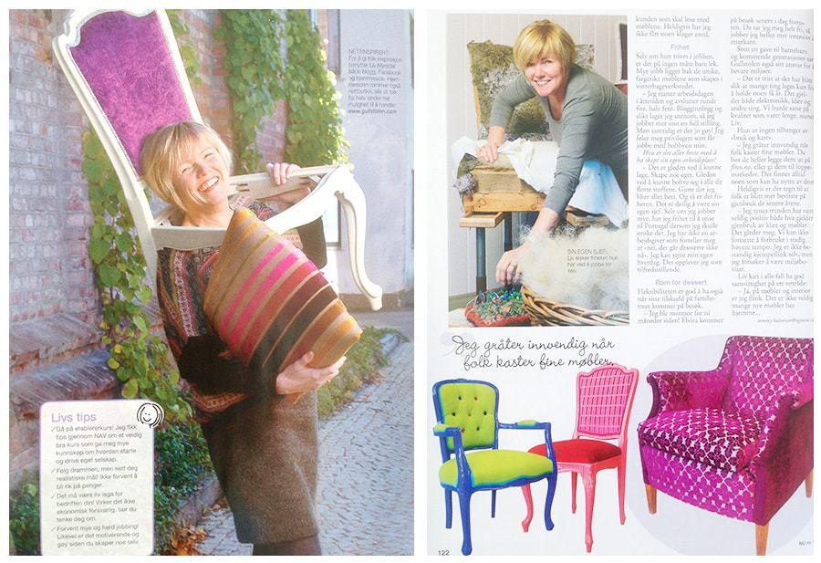 Gullstolen! Reportasje i Norsk Ukeblad med bilder av fotograf Ane Cathrine Buck .